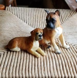 Vintage Boxer Dog Figurines - Set of Two